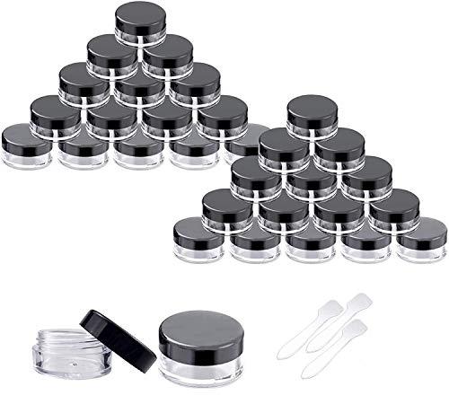 Ealicere 5g/5ml 30 Pièces Empty Plastique Jars Pots Cosmétiques avec Noir Couvercles Cosmetic Container Vide Rond en Plastique Round Contenant pour Sample/Make-Up/Glitter Stockage