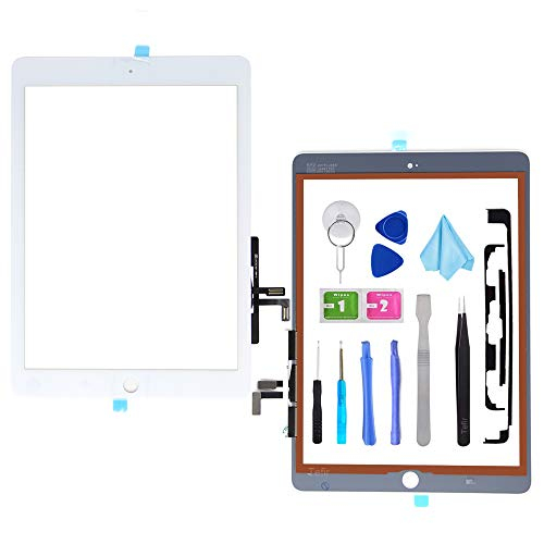 Tefir White Digitizer Repair Kit for 2017 iPad 9.7(A1822, A1823)/ iPad 5 iPad Air 1st Touch Screen Digitizer Replacement (Without Home Button) with Tools + PreInstalled Adhesive