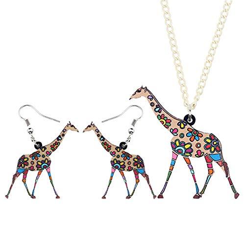 chushi Acrylic Cartoon Giraffe Earrings Necklace Jewelry Set Girls Fashion Jungle Animal Jewelry Zzib (Color : Brown)