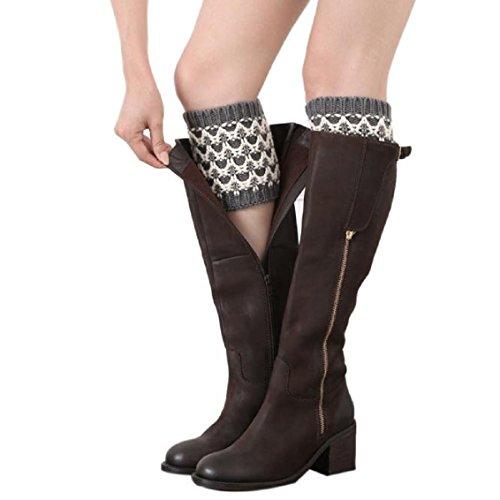 WOCACHI Damen Stulpen Winter Frauen Double Color kurzer Punkt Beinlinge Socken Stiefel Abdeckung (Grau)