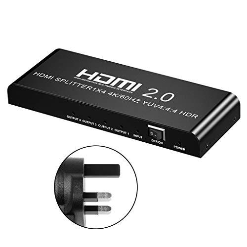 ZChun H-D-M-I Splitter 1-4 aus H-D-M-I 2.0, 1x4 AC Adapter 4K 60Hz...