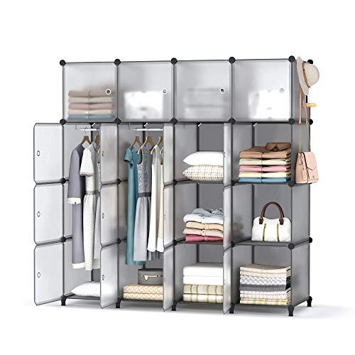 Homidec - Armario de 16 cubos, portátil, estantería de almacenamiento, guardabarros con 3 varillas colgantes para ropa, zapatos, juguetes, accesorios, 142 x 146 x 46 cm