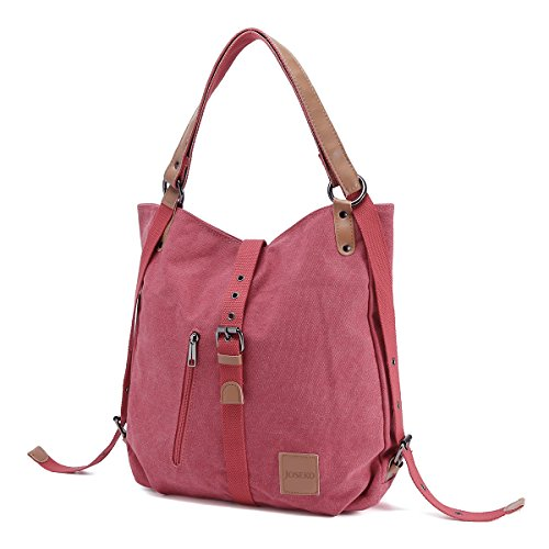 Canvas Shoulder Bag Ladies Rucksack Vintage Handbags, JOSEKO Tote Convertible Backpack Bag Multifunctional for Work Travel School Casual Daily PU Strap for Women Girls Female