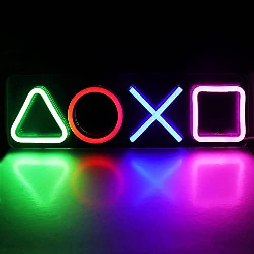 Letreros de neón para Playstation Light Icon Gaming, interruptor alimentado por USB, luces de neón LED para sala de juegos PS5, cueva de hombre, adolescente, decoración de sala de juegos estética
