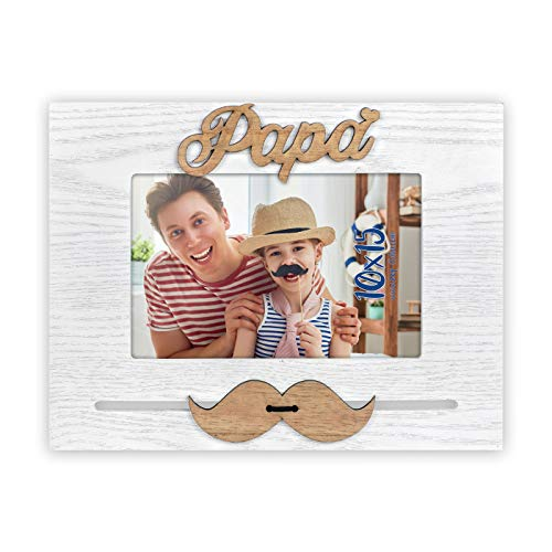 marco sobremesa de madera con papa y bigote en marquetería para foto en 10x15 horizontal.