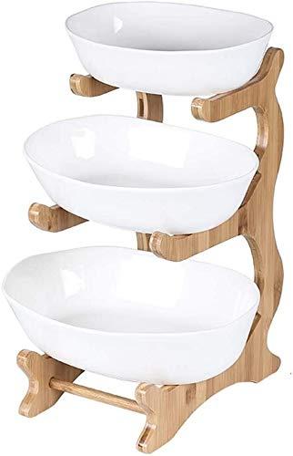 Met Love Frutero ovalado con marco de bambú, soporte para servir frutas, plato de frutas secas, cesta de frutas (color: predeterminado 1, tamaño: tres pisos)