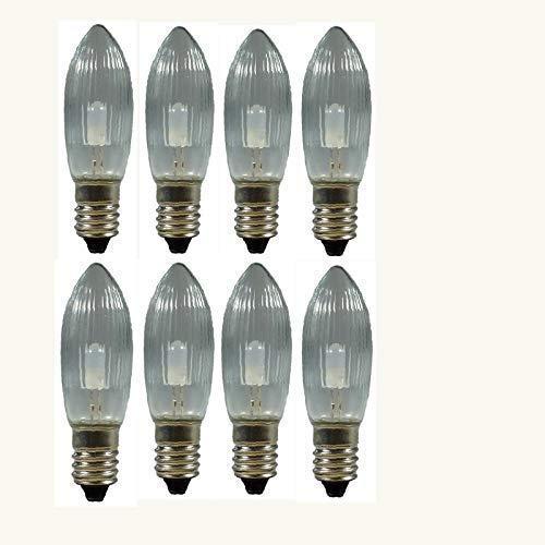 8 Stück LED Spitzkerzen 8-55V, 0,1 Watt, E 10, für Schwibbogen, Pyramide u.s.w.