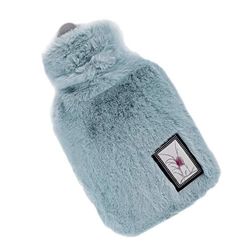 LAAT Bolsa de Agua Caliente para Estudiante Calentadores de Botella portátil con Funda de Felpa, 1000ML size 18 * 28cm (Azul)