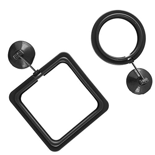 SLSON Fish Feeding Ring Aquarium Fish Floating Food Feeder Circle Square and Round with Suction Cup,Set of 2 Black