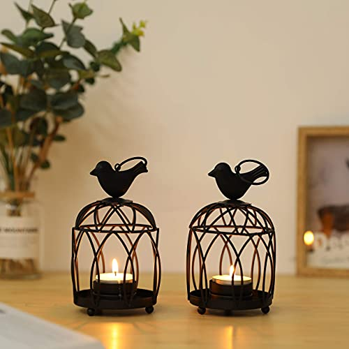 JHY DESIGN 2 Pack Bird Top Small Metal Candlestick Holder Hanging Birdcage Tealight Lantern Decorative Candle Holders for Table Wedding Party Valentine Patio Indoor Outdoor Gifts(Black)