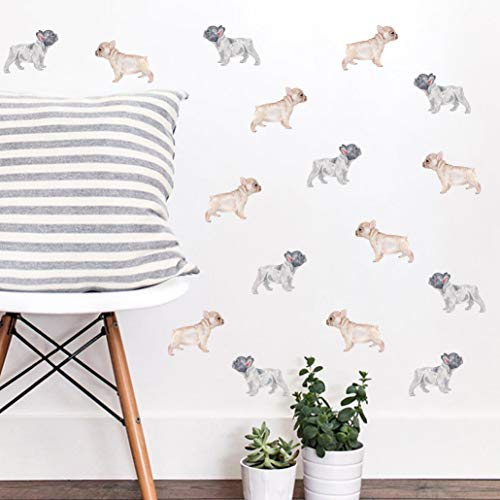 Vieli Arte Small Transparent Frenchies Watercolor Wall Decals. Hand Painted Dog Decal, 16 pcs. French Bulldog Nursery, Kids and Adult Room Decor. Pet Transparent Original Artist Design. Adhesive Tribal Animal Sticker Mural Bedroom Decoration. (Frenchies)