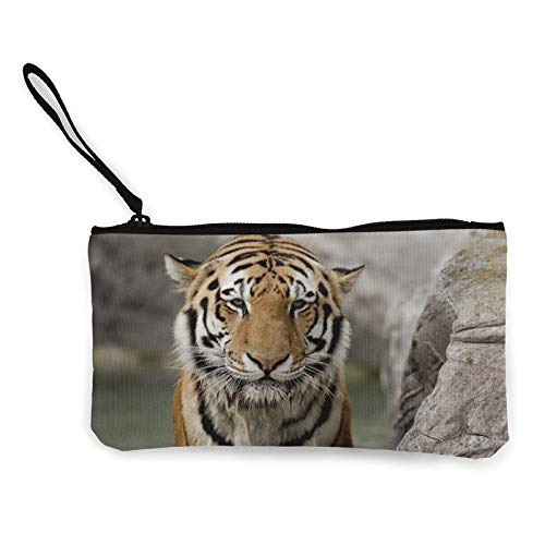 Tiger_Face_Stone_Big_Cat x Women Canvas Coin Purse Unisex 3D Print Pattern Coin Wallets for Men and Women