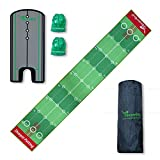 SharperGolf 10' x 20' Premium Indoor Putting Mat with Putting Mirror Carry Bag and Accessories Golf Putting Green Mat Indoor System