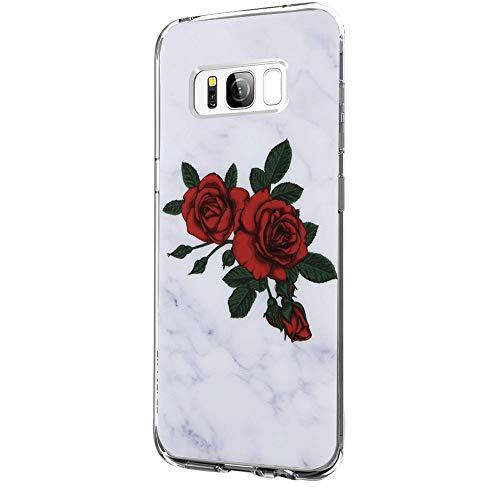 Riyeri Hülle Compatible with Samsung Galaxy S8 PlusHülle Klar Slim TPU Silikon Bumper Handyhülle für Samsung S8 Plus - Marmor & Blume (Samsung S8 Plus, 13)