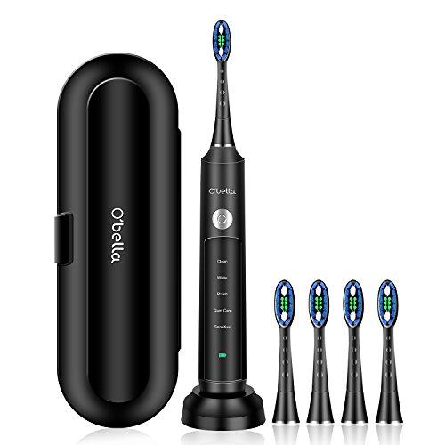 Sonic Elektrische Zahnbürste mit 5 Reinigungsmodi, 2 Minuten Timer, 4 DuPont Weicher Bürstenkopf,USB-Induktionsladung, Lange Akkulaufzeit, Elektrische Zahnbürste Schwarz für Erwachsene