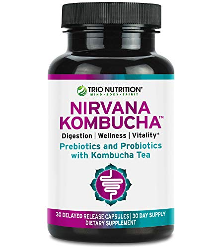 Prebiotics and Multi-Strain Probiotics with Organic Kombucha for Immune Support and Digestive Health | Nirvana Kombucha with Live Probiotics, Delayed Release Capsule, Max Survival for Women & Men*