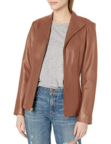 Cole Haan Women's Leather Wing Collared Jacket, Cognac, X-Large