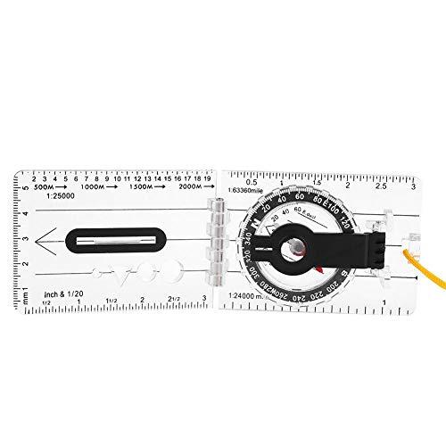 Tbest Boussole d'orientation, la Base Replacement pour la Survie, L'Orientation, Navigation, Sac à Dos - Rubrique Magnétique, Roulement d'Azimut, Plaque de Base avec Pliable Une Règle de Carte