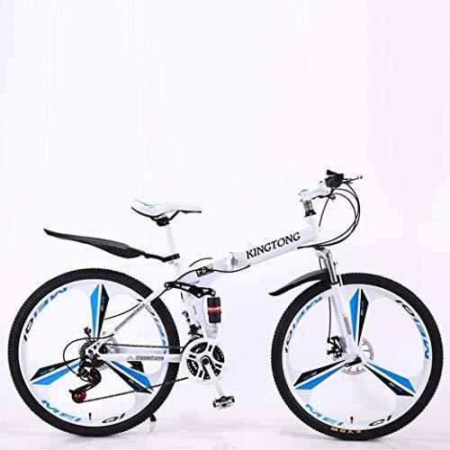 Advanced Riders, Mountain Bike Folding Bikes, 21-Speed Double Disc Brake Full Suspension Anti-Slip, Lightweight Aluminum Frame, Suspension Fork, Multiple Colors-24 Inch/26 Inch For Beginner-Level