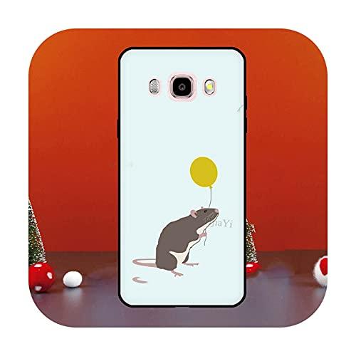 Cute Cartoon Animal Rata para Samsung Galaxy J1 J3 J5 J7 2016 A6 A8 J4 J6 Plus J8 A7 A9 2018 A3 A5 2017 Funda para teléfono K22221-J4 2018 - J400