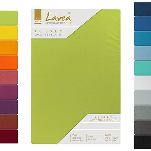 Lavea, lenzuolo in jersey con angoli, serie Maya, 100% cotone, lavorazione di alta qualità, con elastico, certificazione Oeko-Tex 100, Cotone, verde mela, 180x200cm | 200x200cm