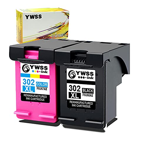 YWSS Remanufacturado Cartuchos de Tinta Reemplazo para HP 302 XL 302XL (1 Negro, 1 Tricolor) Compatible con HP Envy 4520 4527 4524 Deskjet 3630 2130 2132 3637 3636 3638 Officejet 4652 3830 Impresoras