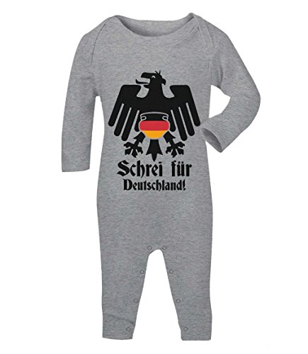 Adler Windel Lustig Baby Fan Schrei Für Deutschland Baby Strampler Strampelanzug 3-6 Months Grau