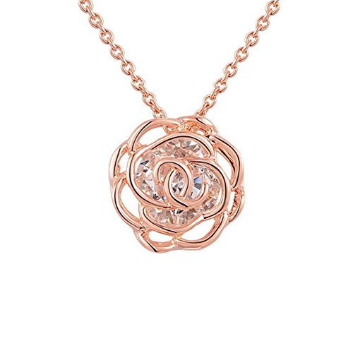 Yoursfs - Collana con ciondolo traforato cavo - - Australia - Ciondolo in filigrana a cristallo rosa - placcato in oro 18 kt - Splendido set di gioielli da donna in stile vintage