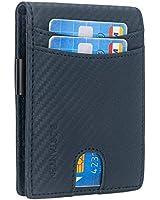 BOSTANTEN Leather Wallets for Men Bifold Money Clip Slim Front Pocket RFID Blocking Card Holder Blue