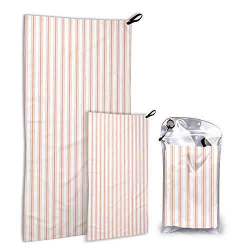 Snelle droge microvezel campinghanddoek set voor wandelingen, reizen, kamp, rugzak - groot 140 cm x 70 cm - klein 80 cm x 40 cm - zacht, super absorberend, gratis draagtas, kleine schelp koraalperzik oranje matras