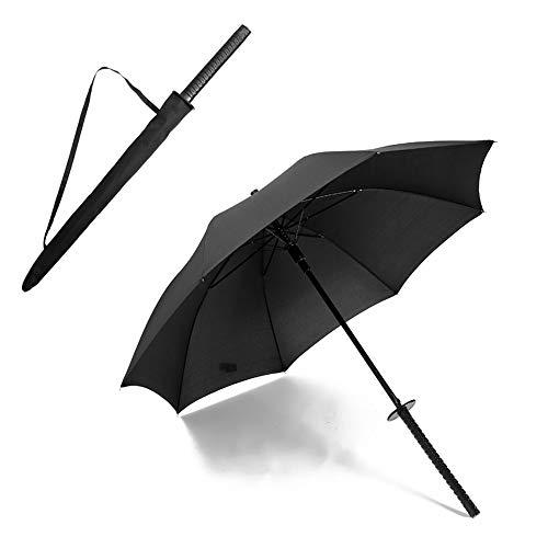WNN-URG Paraguas, Estilo japonés, Paraguas Largo con 8 Costillas del Paraguas de la manija Creativa Fuerte Sol con Estilo Paraguas de la Lluvia Regalo de la decoración (Negro) WNN-URG