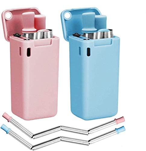 LOBKIN Pajitas Plegable de Acero Inoxidable Reutilizable, compuesta de Acero Inoxidable y Silicona de Grado alimenticio, portátil con Soporte para Estuche rígido y Cepillo de Limpieza (Rosado+Azul)