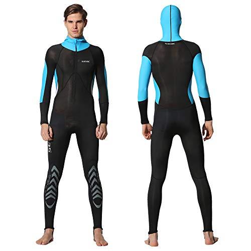 Full Body Scuba Rash Guard Dive Skin UV Swimwear Sport Skins for Men Women, Long Sleeve One Piece Front Zipper Diving Wetsuit for Surfing Swimming Snorkeling Canoeing (Men's Light Blue, XXL)