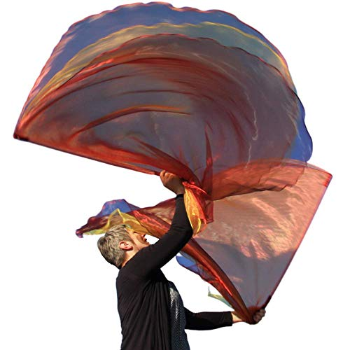 FIRE Angel Wing from Catch the Fire Worship Flags, Praise & Worship Dance Flags, Prophetic Worship, Christian Dance in Church, Beautiful Triple Layer, (2 ct), Flexible Poles