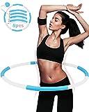Hula Hoop Reifen Fitness Erwachsene,DUTISON hoopomania hula hoop 8 Knoten abnehmbares design mit Mini maßband,hula hoop reifen ist für erwachsene bewegung und Gewichtsverlust geeignet (weiß blau/1 kg)