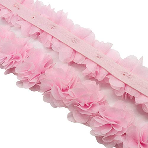 Yalulu 5 Yards 3D Chiffon Flowers Cluster Fabric Roses Lace Trim Tulle Flower Ribbon for Applique Sewing Wedding Dress Decoration Accessories (Light Pink)
