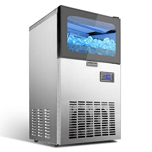 Commercial Ice Maker 122LBS/24H with 44LBS Bin, 36 Ice Cubes Ready in 12-18 Mins Stainless Steel Freestanding Ice Machine for Home/Office/Restaurant/Bar/Coffee Shop