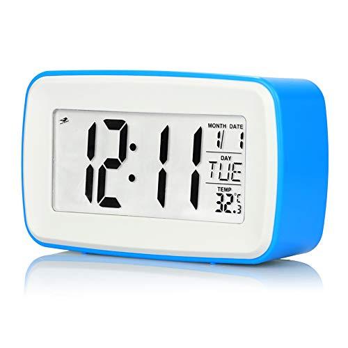 Digitalwecker, Aufnahme Touch Mute Smart Clock Großer Bildschirm Leuchtendes Licht Musik Natürlicher Klingelton Elektronischer Wecker,Blue