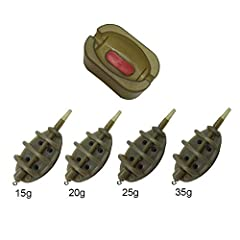 Package included: 4 inline method feeders and 1 quick release method mould Weight: 15g/20g/25g/35g Size: Feeder(3.1inch); Mould(2.8inchx1.8inchx1.1inch) Function: Easy to release bait feeders Design: Ideal baiting tool for carp fishing