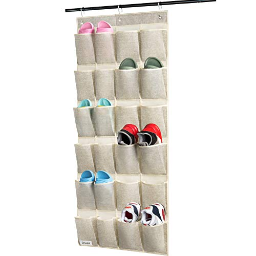 Over Door Hanging Shoe Organizer Criusia 24 Pockets Hanging Shoe Holder for Storage Men Sneakers Women High Heeled Shoes and Slippers Useful for Bedroom Closet Bathroom Beige