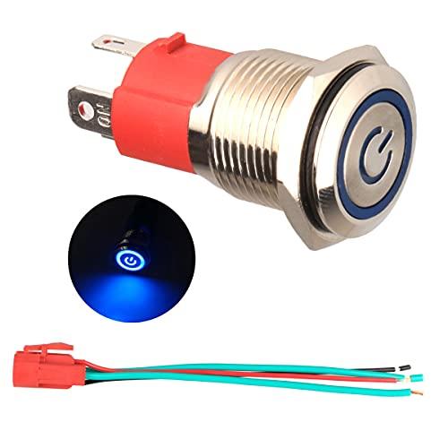 GUUZI 220 V / 15A Interruptor de Botón de Enclavamiento NO, Luz LED Azul Impermeable Iluminada 19mm Botón de Encendido de Metal con Cable de Enchufe