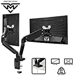Dual Arm Monitor Desk Mount Stand - Premium Aluminum Height Adjustable Full Motion Gas Spring Monitor Mount Riser with C Clamp/Grommet Base for 17' to 32' Screens - Hold up to 17.6 lbs by IMtKotW