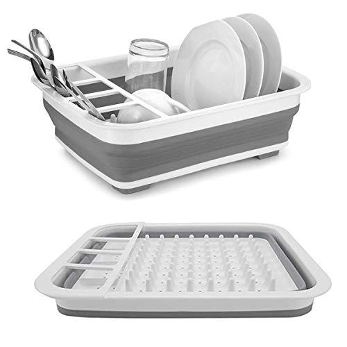 Collapsible Drying Dish Storage Rack Portable Dinnerware Organizer - Space Saving Kitchen