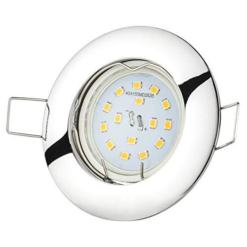 Encastrable chromé non orientable avec 5 W LED et douille GU10 | économie d'énergie Lampe Spot à Encastrer Kit complet
