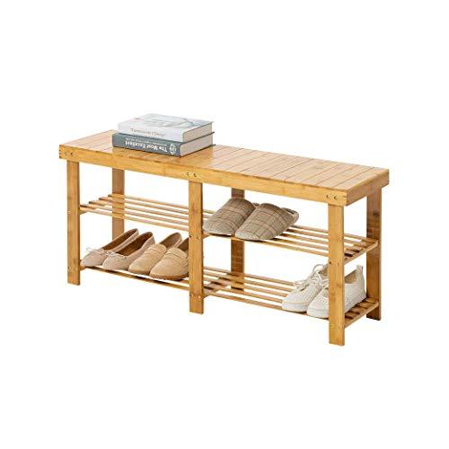 Zapatero El estante de bambú del zapato se puede asentar for el banco del zapato El hogar simple de múltiples capas Multi-función económico Mini la pequeña puerta de madera del pequeño estante for zap