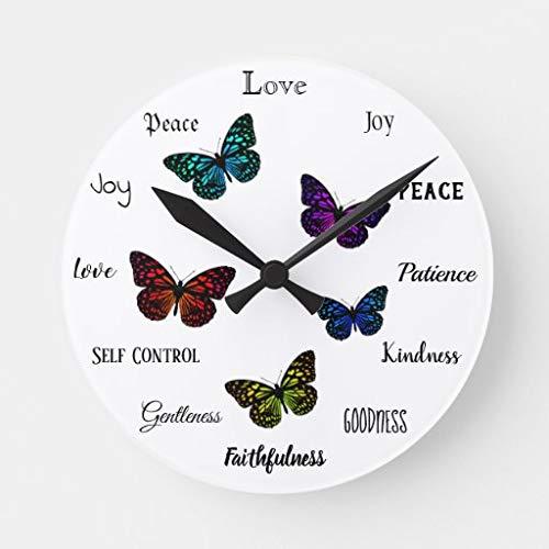 Ninguna marca Fruit of the Spirit - Reloj redondo de mariposas