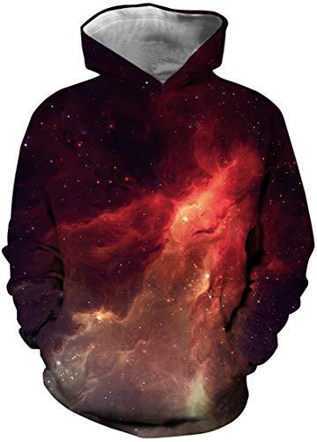 EUDOLAH Jungen Sweatshirts für 4-13 Alter Kinder Langarm 3D Druck Mehrfarbig Bunt Kids Herbst Winter Hemd mit Kaputzen Flamme Himmel M