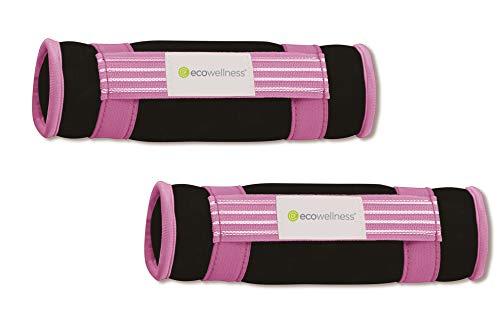 ecowellness Neopren Soft-Hanteln 2er Set Gymnastikhanteln je Hantel 0,45 kg Fintesshanteln mit Handschlaufe