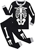 Pajamas for Girls Boys Halloween PJs Baby Clothes Kids Grow in The Dark Skeleton Pants Set 6t