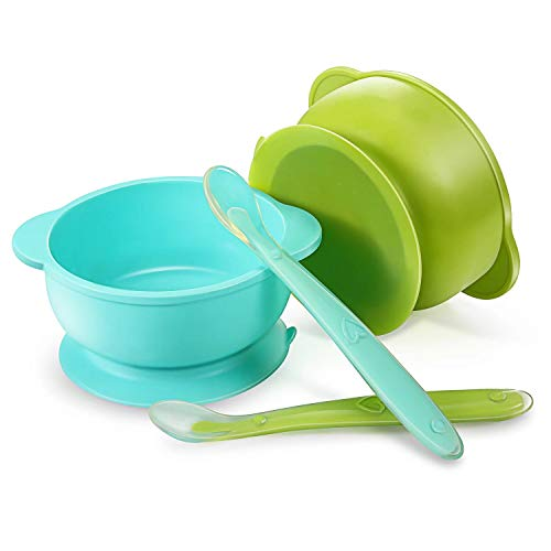 PandaEar Set of 2 Silicone Stay Put Suction Bowls | Large...